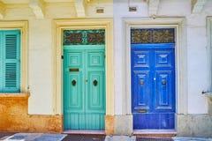 Colorful doors of Rabat, Malta stock photo