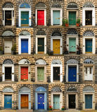Colorful doors in Scotland. Collage of old and colorful doors from Edinburg, Scotland Royalty Free Stock Photos