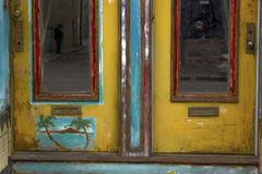 Colorful Doors. View of colorfully painted rustic doors in North Beach district of San Francisco in Northern California Royalty Free Stock Photo