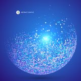 Colorful dots abstract sphere, science and technology vector ill. Ustration,The blue background of the point Stock Photos