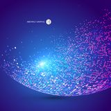 Colorful dots abstract sphere, science and technology vector ill. Ustration,Comprehensive interlacing, core strength, blue background Stock Images