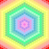 Colorful dots placed together to form a hexagon. In square format Royalty Free Stock Photos