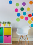 Colorful dots on the wall Royalty Free Stock Photography
