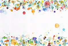 Colorful dots. Watercolor on paper background Stock Photos
