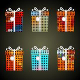 Colorful dots wrapping paper gifts with ribbons and tags eps10 Royalty Free Stock Image