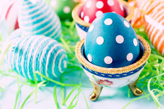 Colorful and dotted eggs Royalty Free Stock Photography