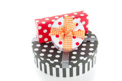 Colorful dotted giftboxes Royalty Free Stock Images