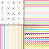 Colorful dotted and striped seamless patterns vector backgrounds.  Stock Photos