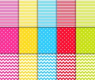 Colorful dotted and striped seamless patterns vector backgrounds.  Royalty Free Stock Image