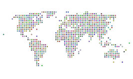Colorful dotted world map. Stylish and colorful dotted world map stock illustration