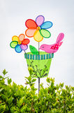 Colorful double pinwheel with bird on white sky Royalty Free Stock Photography