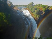 Colorful double rainbow over Victoria Falls Royalty Free Stock Images