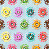 Colorful doughnut and polka dot seamless pattern Royalty Free Stock Images