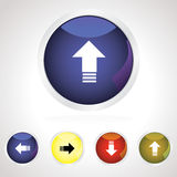 Colorful download button icon set. Download button icon set in various bright colors Royalty Free Stock Photography