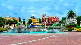 Colorful downtown in La Coruna city, Spain Stock Photography