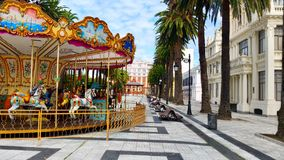 Colorful downtown in La Coruna city, Spain Royalty Free Stock Images