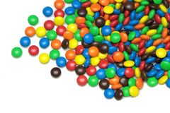 Colorful dragee candies on white background.  Royalty Free Stock Image