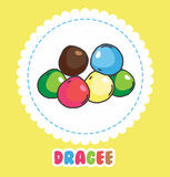 Colorful dragee on white background. Icon of sweets Royalty Free Stock Photo