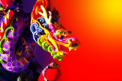 Colorful dragon. Head border, traditional Asian decoration and ornamental art, Chinese Zodiac, astrology sign, 2012 New Year symbol Royalty Free Stock Photos