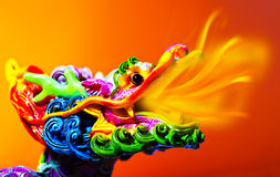Colorful dragon. Head with tongue of fire flame, traditional Asian decoration and ornamental art, Chinese Zodiac, astrology sign, 2012 New Year symbol Stock Photography