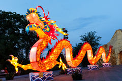 The colorful dragon in The Alangkarn lanterns festival 2015 Royalty Free Stock Images