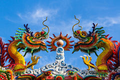 Colorful dragon on Chinese style roof decoration. Royalty Free Stock Image
