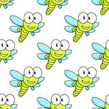 Colorful dragon fly seamless pattern Stock Photos