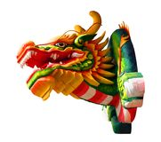 Colorful dragon head in below view on isolated white background. For decoration Royalty Free Stock Images