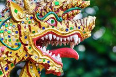 Colorful dragon head sculpture. Close-up, Thailand Royalty Free Stock Photos