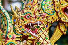 Colorful dragon head sculpture. Close-up, Thailand Royalty Free Stock Image