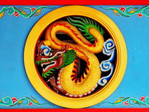 Colorful dragon ornament at Chinese shrine Stock Photos
