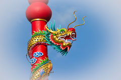 Colorful dragon on pole in Chinese temple,Thailand Royalty Free Stock Photos