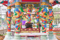 Colorful dragon on pole in Chinese temple,Thailand Stock Photography