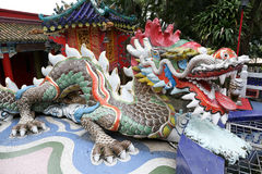 Colorful dragon sculpture in Repulse Bay Temple Stock Photography