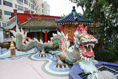 Colorful dragon sculpture in Repulse Bay Temple Stock Photos