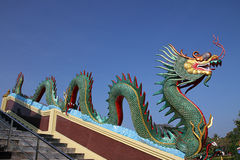 Colorful of dragon statue with blue sky Royalty Free Stock Image