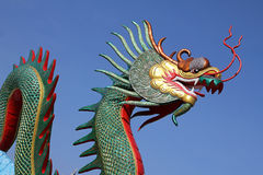 Colorful of dragon statue with blue sky Stock Photos