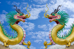 Colorful dragon statue with blue sky Stock Photography
