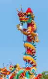 Colorful dragon statue. In blue sky Royalty Free Stock Photos