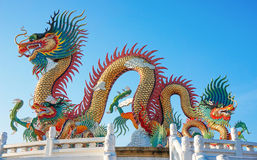 Colorful dragon statue with blue sky Stock Image