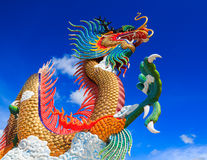 Colorful dragon statue with blue sky Royalty Free Stock Photography