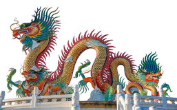 Colorful dragon statue isolated on white background Royalty Free Stock Images