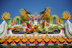 Colorful dragon statue on the roof Chinese temple in Tak Province ,Thailand Royalty Free Stock Photography