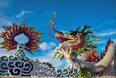 Colorful dragon in the temple. Colorful dragon in the temple isolated on blue sky Royalty Free Stock Photo