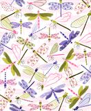 Colorful dragonflies fly across this sweet print. Graphic resources for cards, invitations, scrapbooking, placement prints and more Stock Photo