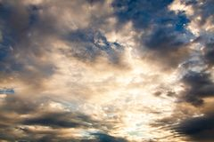 colorful dramatic sky with cloud at sunset royalty free stock photo