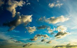 Colorful dramatic sky with cloud at sunset Royalty Free Stock Images