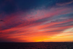 Colorful dramatic sky after sunset. Dramatic sky after sunset. Sea of Japan Royalty Free Stock Image
