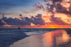 Colorful dramatic sunrise over Atlantic Ocean. Bavaro beach, Hispaniola Island. Dominican Republic, coastal landscape Stock Images