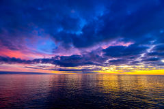 Colorful dramatic sunset above Glenelg Beach Royalty Free Stock Image